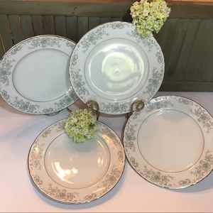 (4) Norleans China Theresa Curved Dinner Plates